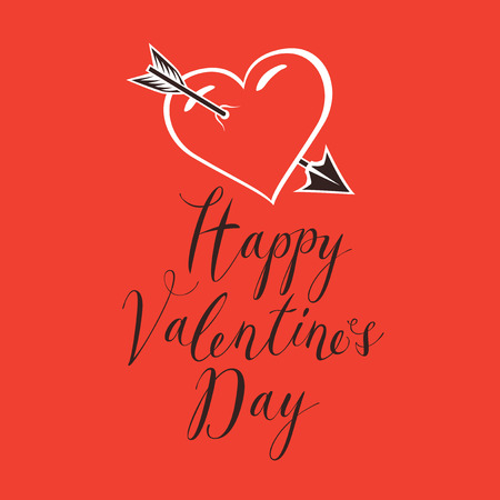 Vector greeting card or banner with handwritten calligraphic inscription Happy Valentines Day with heart pierced by an arrow on red background. Illustration