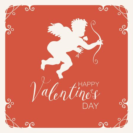 Greeting card or banner with Cupid with bow and arrow in a frame with curls vector. Handwritten calligraphic inscription positive quote Happy Valentine's Day.