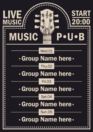 Vector poster for the beer pub with live music with image of guitar neck on black background. A daily schedule of performances of music groups Ilustração