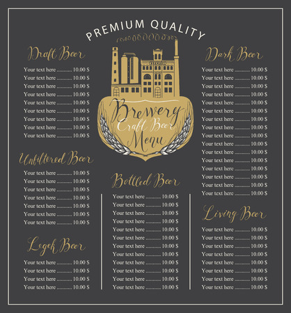 Craft beer menu vector with the image of the brewery building in retro style and price list with handwritten inscriptions. Çizim