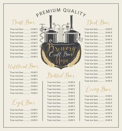 Vector craft beer menu with the image brewery production line and brewing equipment in retro style and price list with handwritten inscriptions Illustration