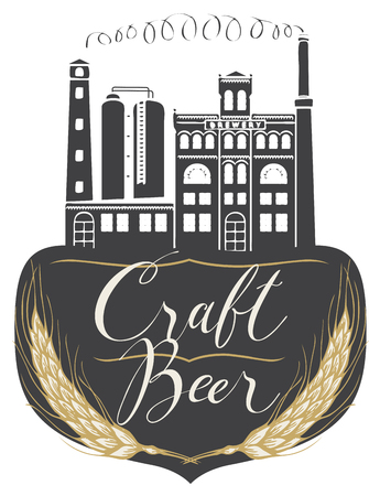 Vector banner for craft beer with a handwritten inscription and image of building of old brewery in retro style Çizim