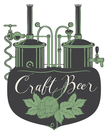 Vector banner or label for craft beer with a handwritten inscription and hops and image of brewery production line and brewing equipment in retro style