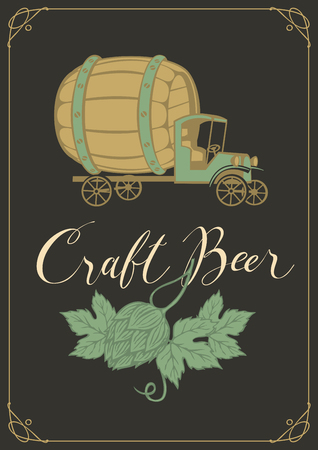 Vector banner for craft beer with a handwritten inscription, hops and a retro truck car with a big wooden barrel in frame with curls on black background