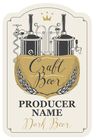 Template beer label with wheat ears, handwritten inscription and image of brewery production line and brewing equipment in figured frame. Vector label for dark craft beer in retro style