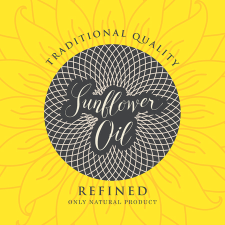 Square vector banner or label for refined sunflower oil with sunflower and handwritten inscription on a yellow background