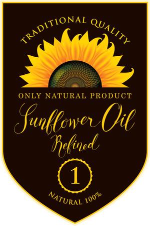 Vektoraufkleber für raffiniertes Sonnenblumenöl mit Sonnenblume und handgeschriebener Aufschrift auf schwarzem Hintergrund Standard-Bild - 94055862
