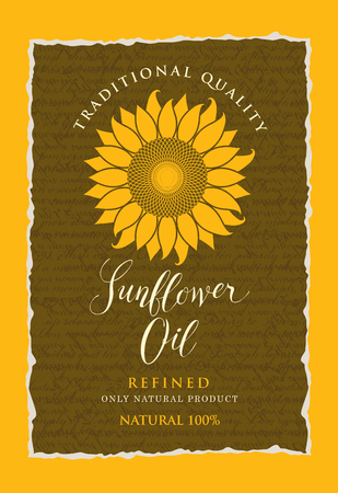 Vector label for refined sunflower oil with sunflower and a handwritten inscription on the background of the manuscript with ragged edges.