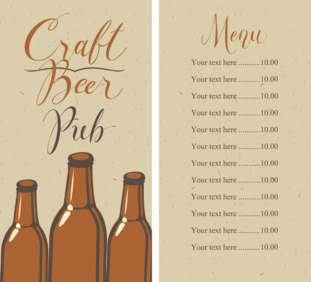 Vector menu with price list for pub with craft beer, with a handwritten inscriptions and a picture of three beer bottles on the background of old cardboard in retro style Banque d'images - 94354908
