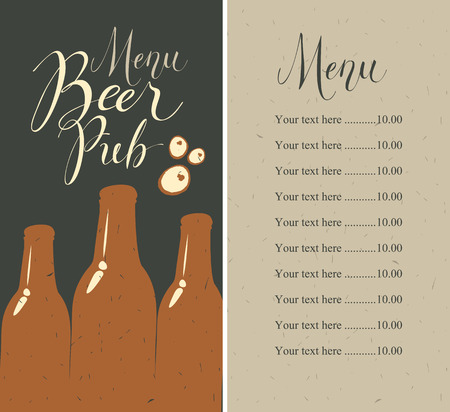 Vector menu with price list for beer pub with a handwritten inscriptions and a picture of three beer bottles on the background of old cardboard in retro style. Çizim