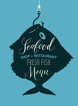 Menu vettoriale per negozio di frutti di mare o ristorante con il pesce pescato sul gancio, iscrizione scritta a mano e il pesce fresco di parole sullo sfondo blu in stile retrò. Archivio Fotografico - 94378544