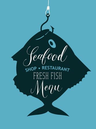 Vector menu for seafood shop or restaurant with the caught fish on the hook, handwritten inscription, and the words fresh fish on the blue background in retro style.