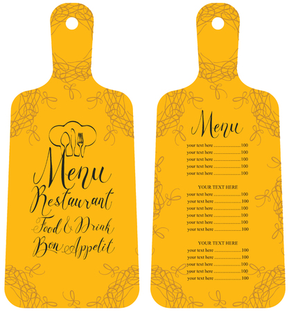 Vector template restaurant menu in the form of cutting board with price list, chef hat, cutlery, curls and handwritten inscriptions in art decor style on yellow background Ilustração