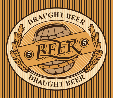 Template oval vector label or banner for draught beer with a wooden barrel and a wreath of wheat ears on striped background in retro style Çizim