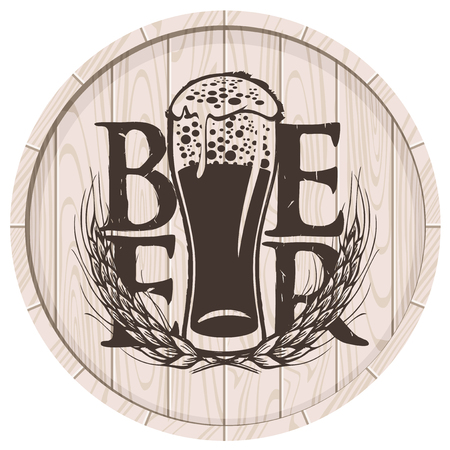 Template vector beer label with overflowing glass of frothy beer and wheat ears on wooden cask in retro style.