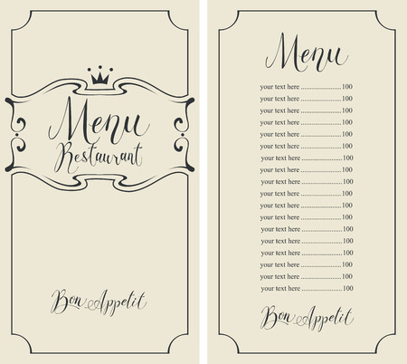 Vector menu for restaurant with handwritten inscriptions, crown, curlicues and price list in figured frame in retro style Illustration