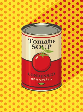 Vector illustration of tin can with a label for the condensed tomato soup on a background of yellow tablecloth with red polka dots