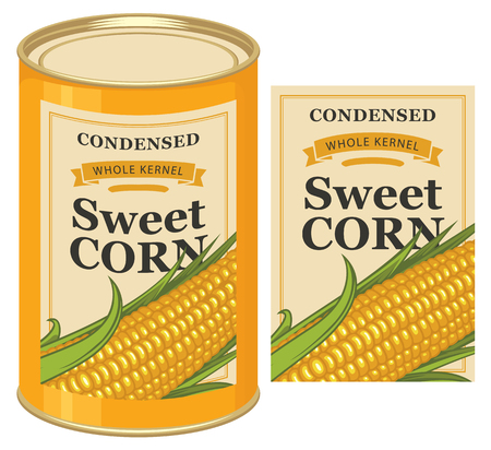 Vector illustration of tin can with a label for canned sweet corn with the image of a realistic corn cob Stock Illustratie