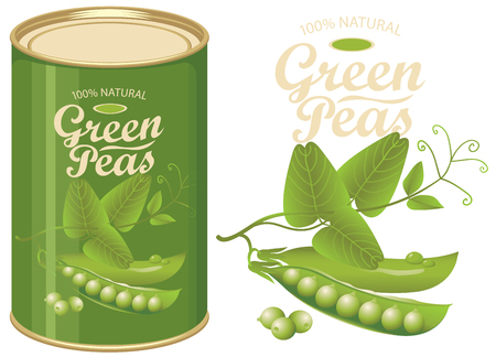 Vector illustration of green tin can with a label for canned green peas with the realistic image of pea pods, tendrils and leaves and calligraphic inscription.