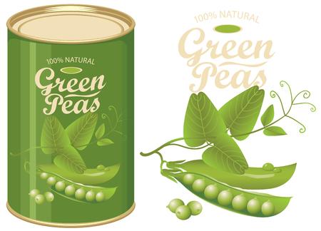 Vector illustratie van groen blikje met een label voor ingeblikte groene erwten met het realistische beeld van peulen, ranken en bladeren en kalligrafische inscriptie. Stockfoto - 95180188