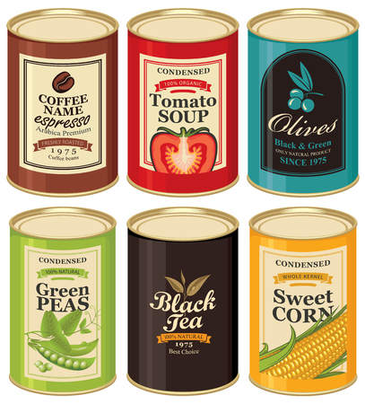 Set of vector illustrations of a tin cans with labels of coffee, tomato soup, olives, green peas, black tea and sweet corn