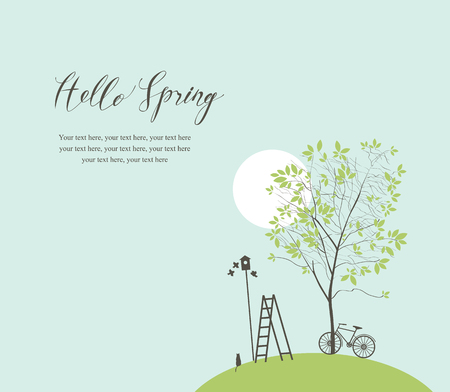 Vector banner with handwritten inscription Hello Spring and place for text. Spring landscape with green tree, bike, birds, birdhouse and ladder Illustration