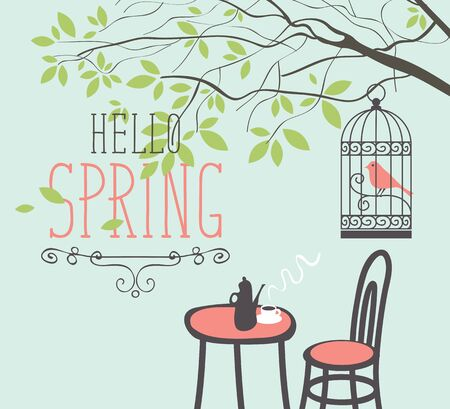 Vector spring landscape with the lettering Hello Spring, with a bird in a cage hanging on a tree branch with green leaves, and outdoor cafe with hot tea or coffee on the table.