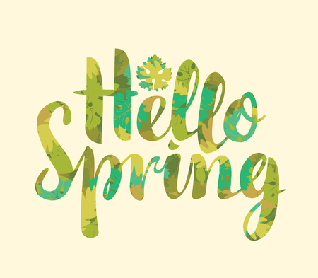 Vector calligraphic inscription Hello Spring in color of different green leaves. Can be used for flyers, banners or posters Illustration