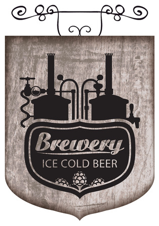 beer signboard with production line retro brewery Banque d'images - 95882511