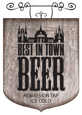 Banner for beer with the lettering best beer in the town design