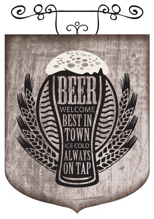 Vector street signboard or a banner for a beer with a wreath of wheat and overflowing beer glass with the words on the theme of beer on a wooden background in retro style. Illustration