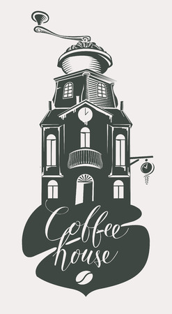 Vector banner or signboard for Coffee House in retro style. Illustration