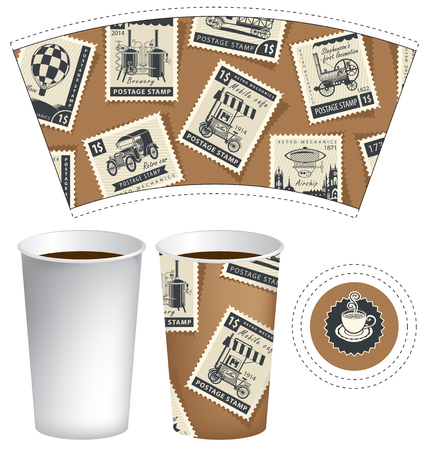 Vector template of paper cup for hot drink. Disposable cup for tea or coffee with set of postage stamps on the theme of vintage mechanic transportation in retro style Ilustrace