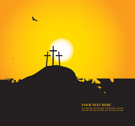 Easter banner with place for text with a picture of Mount Calvary, the three crosses and vultures at sunset. Illustration
