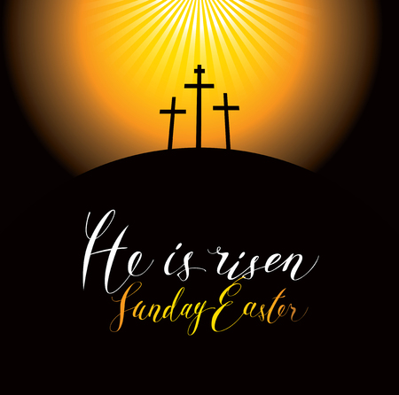 Vector Easter banner with handwritten inscriptions He is risen, Sunday Easter, with Mount Calvary and crosses at sunset.
