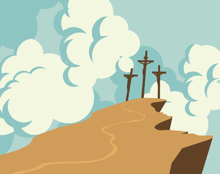 Vector banner on Easter or good Friday. Landscape with mount Calvary and three crosses with crucified people on a background of sky with clouds
