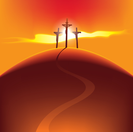 Vector banner for Easter or good Friday. Landscape with three crosses on a hill with a road with crucified people on the background of the rays of the setting sun