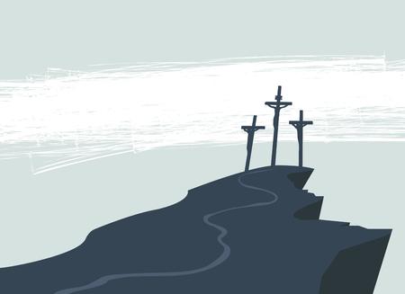Bandiera di vettore di Pasqua o del Venerdì Santo con l'immagine del Monte Calvario e tre croci con crocifisso. Archivio Fotografico - 95824035