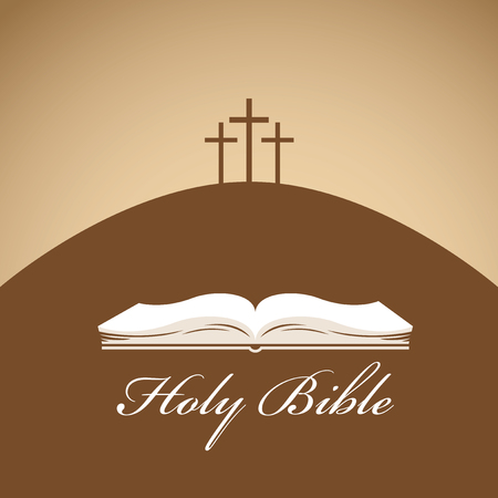 Vector banner met kalligrafische inscriptie Heilige Bijbel, met een afbeelding van een boek en drie kruisen op de heuvel