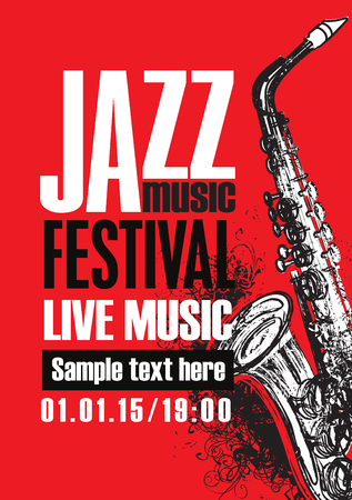 Vector poster for a jazz festival of live music with saxophone and abstract artistic swirls on a red background