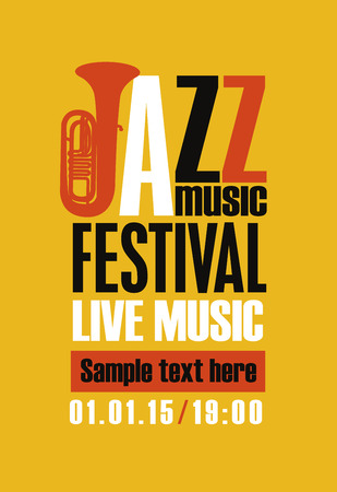 Vector poster for a jazz festival of live music with a saxophone in retro style on amber yellow background.