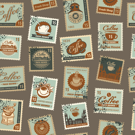 Retro Postage Seamless Background. Vector seamless pattern on coffee and coffee house theme with postage stamps and postmarks in retro style. Can be used as wallpaper or wrapping paper Illustration