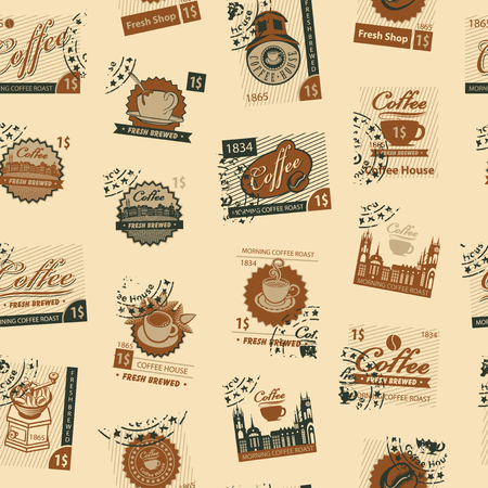 Coffee and coffee house vector seamless pattern theme with postage stamps and postmarks in retro style on beige background. Can be used as wallpaper or wrapping paper. Ilustrace