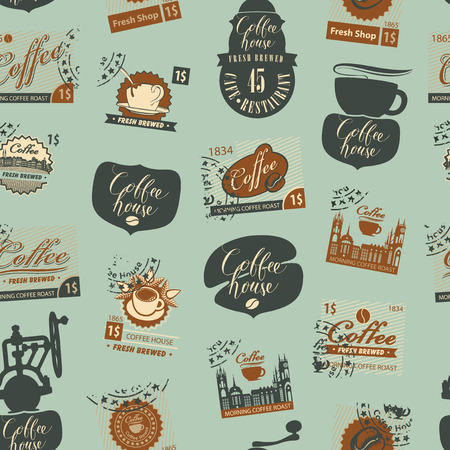 Vector seamless pattern with postage stamps and other coffee symbols on coffee and coffeehouse theme in retro style. Vector illustration. Illustration