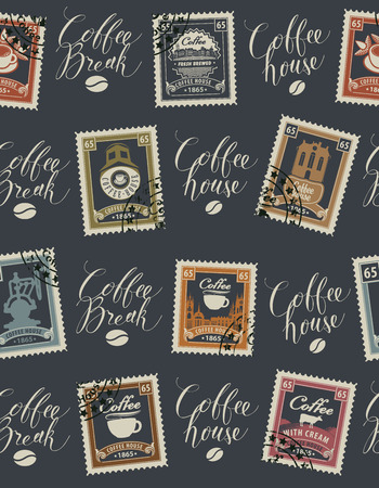 Vector seamless pattern with postage stamps and handwritten inscriptions on coffee and coffeehouse theme in retro style on dark background. Can be used as wallpaper or wrapping paper Ilustrace