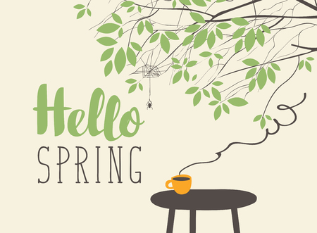 Vector landscape in retro style on a spring theme with the inscription Hello spring