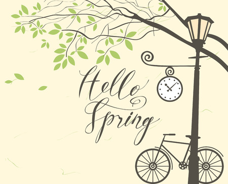 Vector banner with inscription Hello Spring. Spring landscape with green tree in the park, bicycle and clock on the lamp post 向量圖像