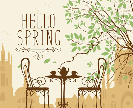 Vector landscape in retro style on the spring theme with the words Hello Spring