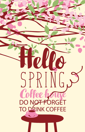 Vector banner on the coffee theme with bright spring landscape in retro style with inscriptions