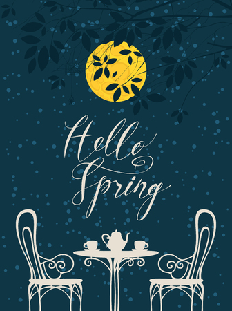 Vector night landscape in retro style with the inscription Hello spring Ilustração
